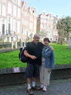 John and Lorraine Tingiri in the Begijnhof court in Amsterdam
